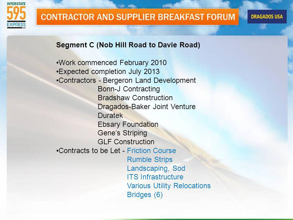Segment C (Nob Hill Road to Davie Road) Work commenced February 2010 Expected completion July 2013 Contractors - Bergeron Land Development Bonn-J Cont