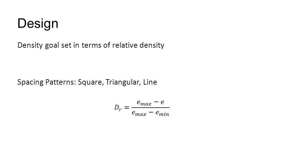 Design Density goal set in terms of relative density Spacing Patterns: Square, Triangular, Line
