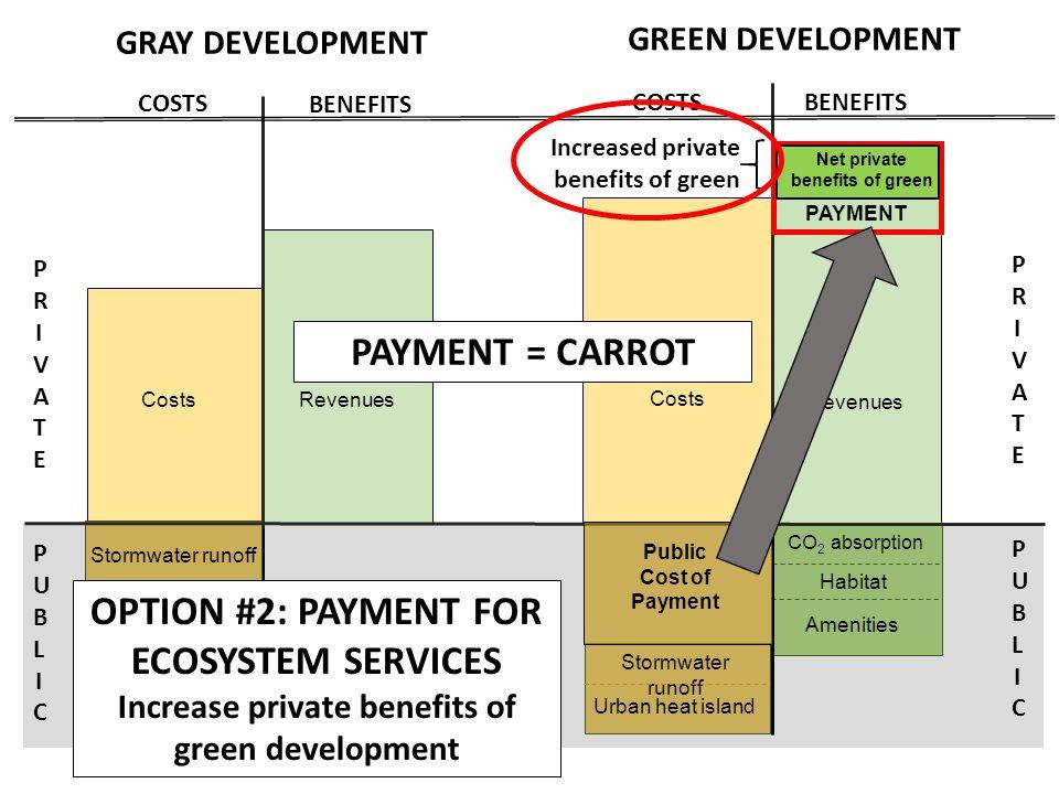 Construction + O&M costs Revenues PRIVATEPRIVATE PUBLICPUBLIC PRIVATEPRIVATE PUBLICPUBLIC CO 2 absorption Habitat Amenities Revenues BENEFITS COSTS BENEFITS COSTS PAYMENT Increased private benefits of green Stormwater runoff Urban heat island PAYMENT = CARROT Stormwater runoff Urban heat island Net private benefits of green OPTION #2: PAYMENT FOR ECOSYSTEM SERVICES Increase private benefits of green development GRAY DEVELOPMENT GREEN DEVELOPMENT Costs Public Cost of Payment