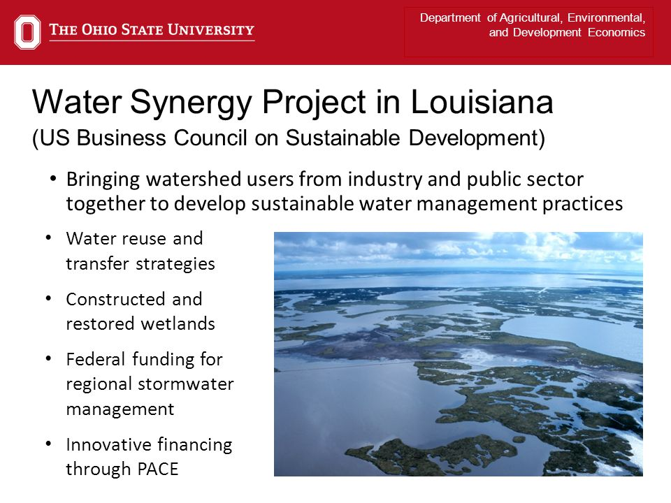 Department of Agricultural, Environmental, and Development Economics Water Synergy Project in Louisiana (US Business Council on Sustainable Development) Bringing watershed users from industry and public sector together to develop sustainable water management practices Water reuse and transfer strategies Constructed and restored wetlands Federal funding for regional stormwater management Innovative financing through PACE