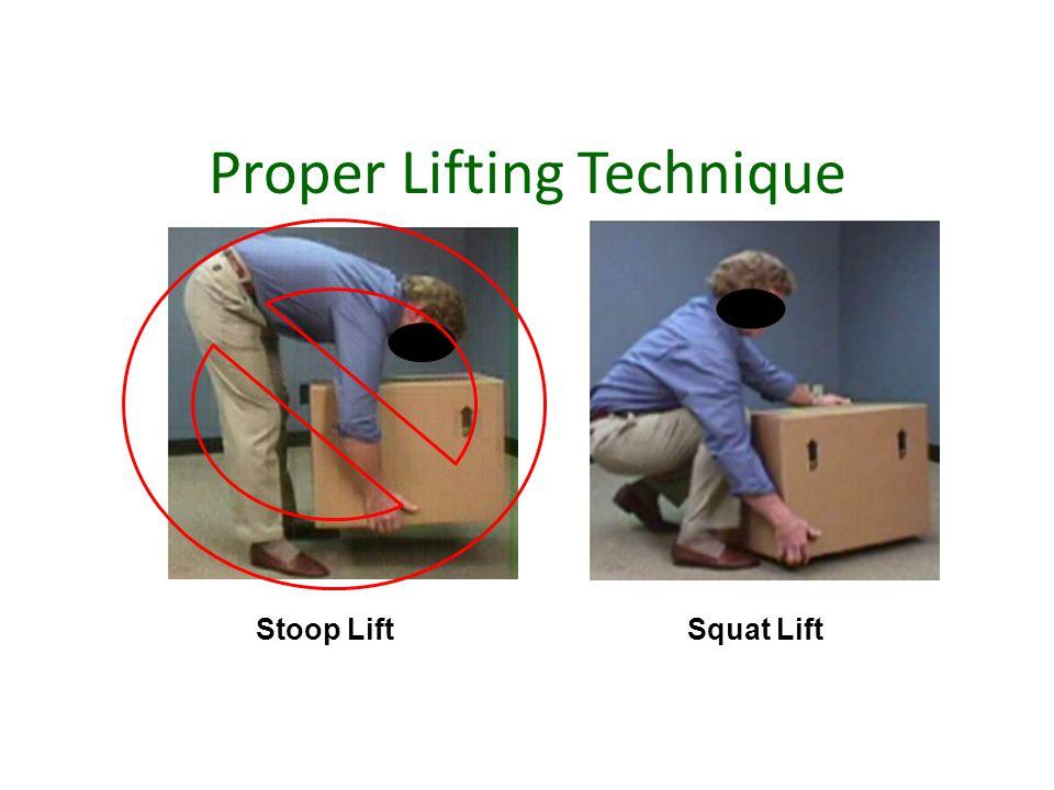 Proper Lifting Technique Squat LiftStoop Lift