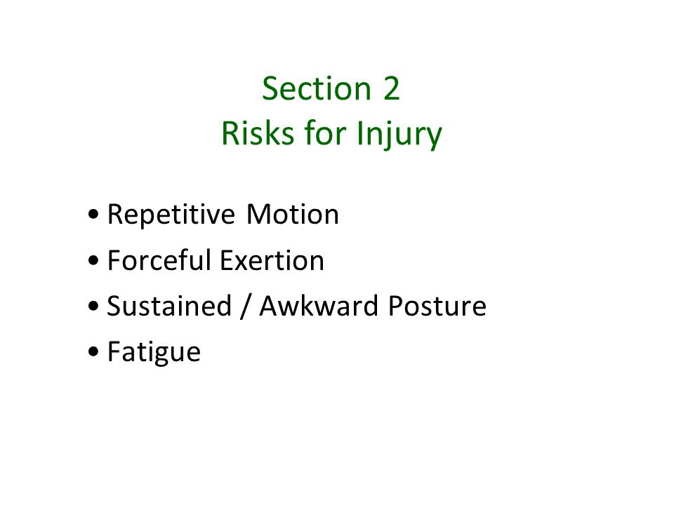 Section 2 Risks for Injury Repetitive Motion Forceful Exertion Sustained / Awkward Posture Fatigue