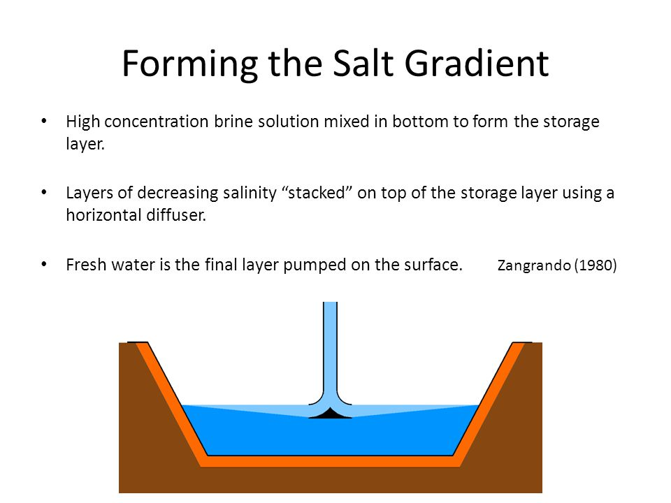 Forming the Salt Gradient High concentration brine solution mixed in bottom to form the storage layer. Layers of decreasing salinity stacked on top of
