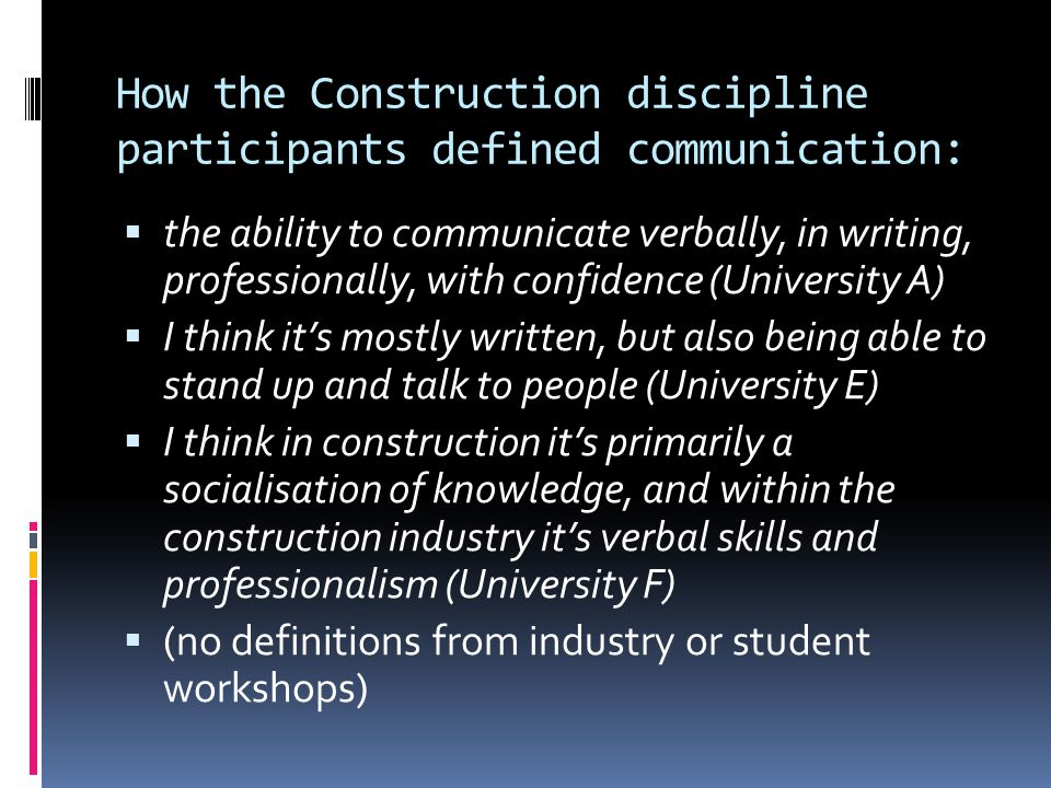 How the Construction discipline participants defined communication: the ability to communicate verbally, in writing, professionally, with confidence (
