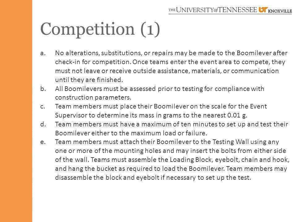 Competition (1) a.No alterations, substitutions, or repairs may be made to the Boomilever after check-in for competition.