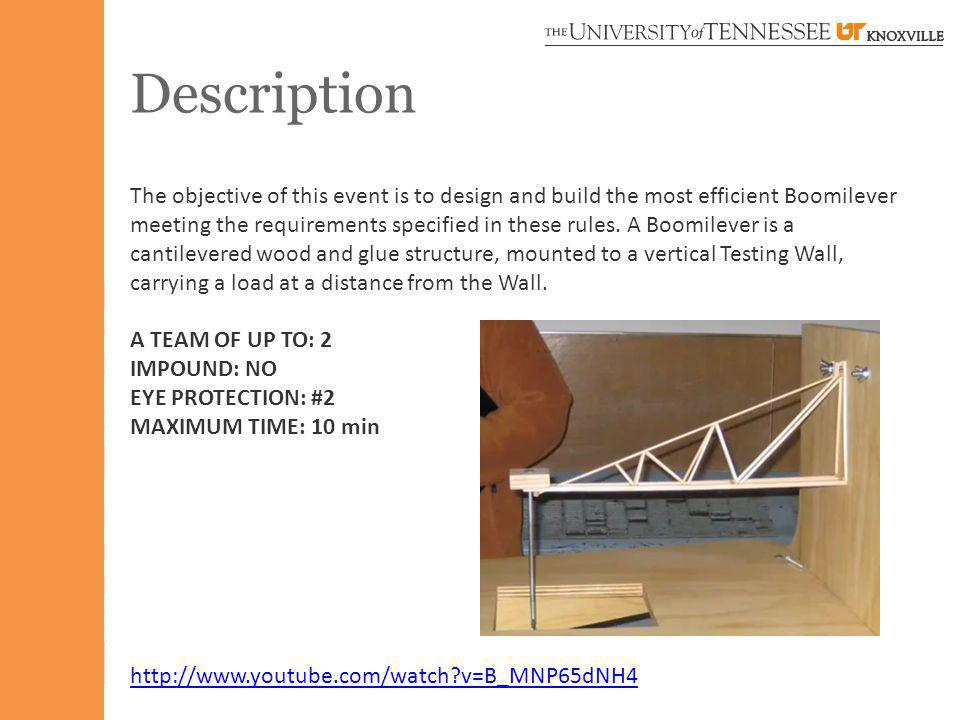 Description The objective of this event is to design and build the most efficient Boomilever meeting the requirements specified in these rules. A Boom