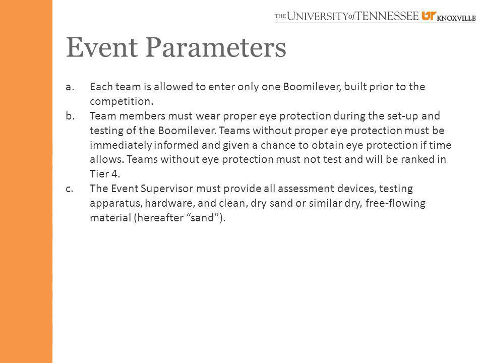 Event Parameters a.Each team is allowed to enter only one Boomilever, built prior to the competition. b.Team members must wear proper eye protection d