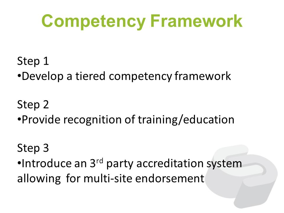 Competency Framework Step 1 Develop a tiered competency framework Step 2 Provide recognition of training/education Step 3 Introduce an 3 rd party accr
