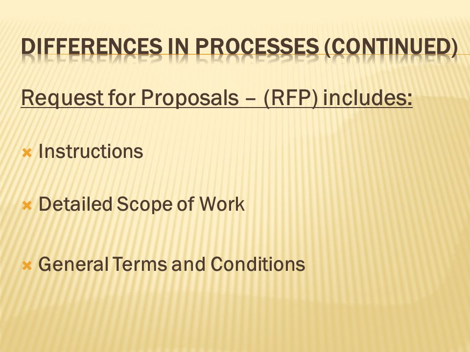 Request for Proposals – (RFP) includes: Instructions Detailed Scope of Work General Terms and Conditions