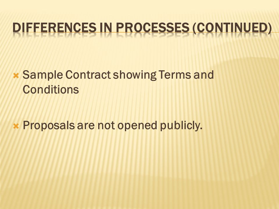 Sample Contract showing Terms and Conditions Proposals are not opened publicly.