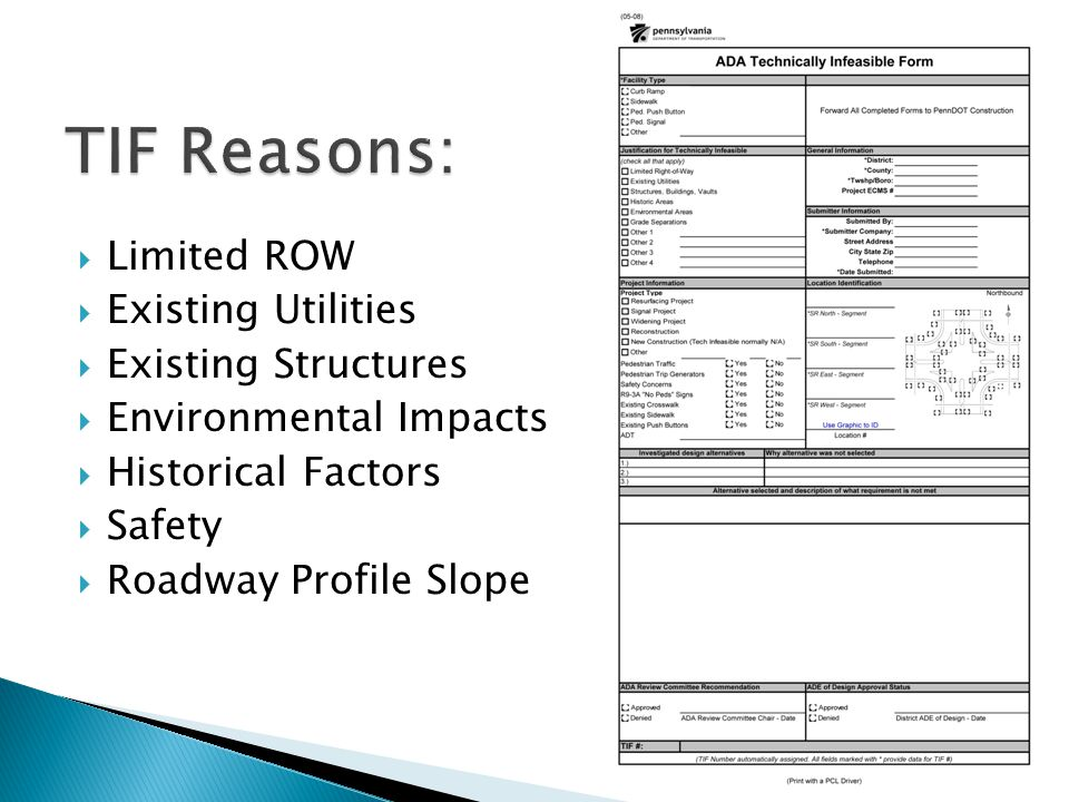 Limited ROW Existing Utilities Existing Structures Environmental Impacts Historical Factors Safety Roadway Profile Slope