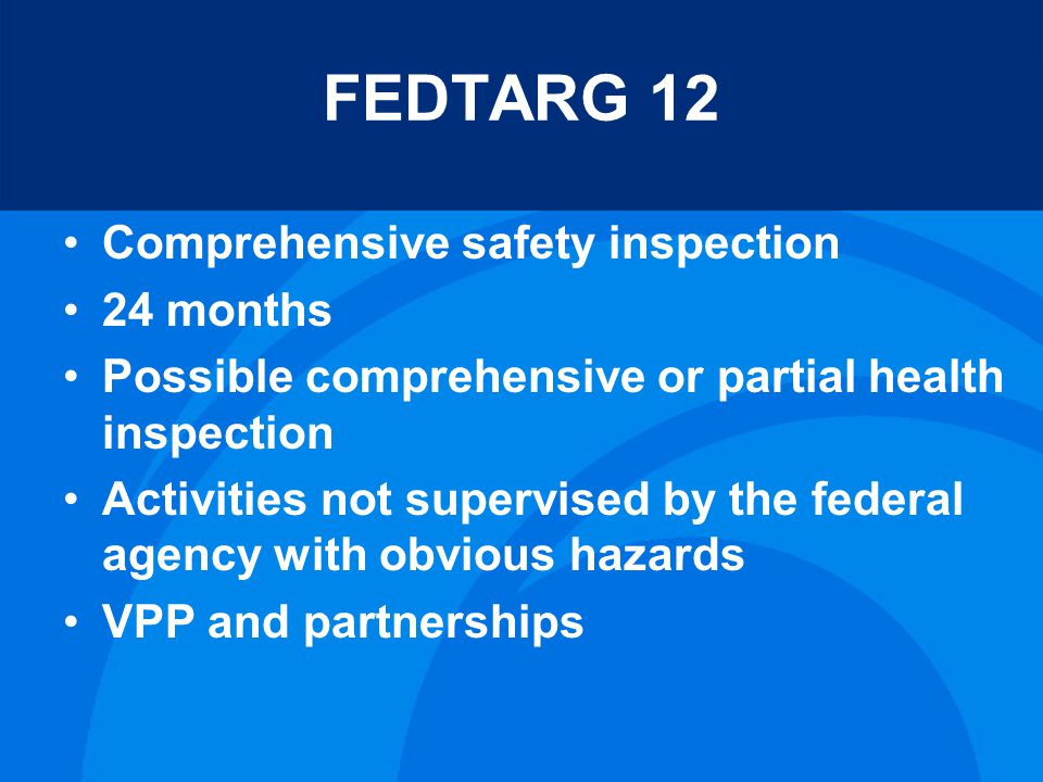 FEDTARG 12 Comprehensive safety inspection 24 months Possible comprehensive or partial health inspection Activities not supervised by the federal agency with obvious hazards VPP and partnerships