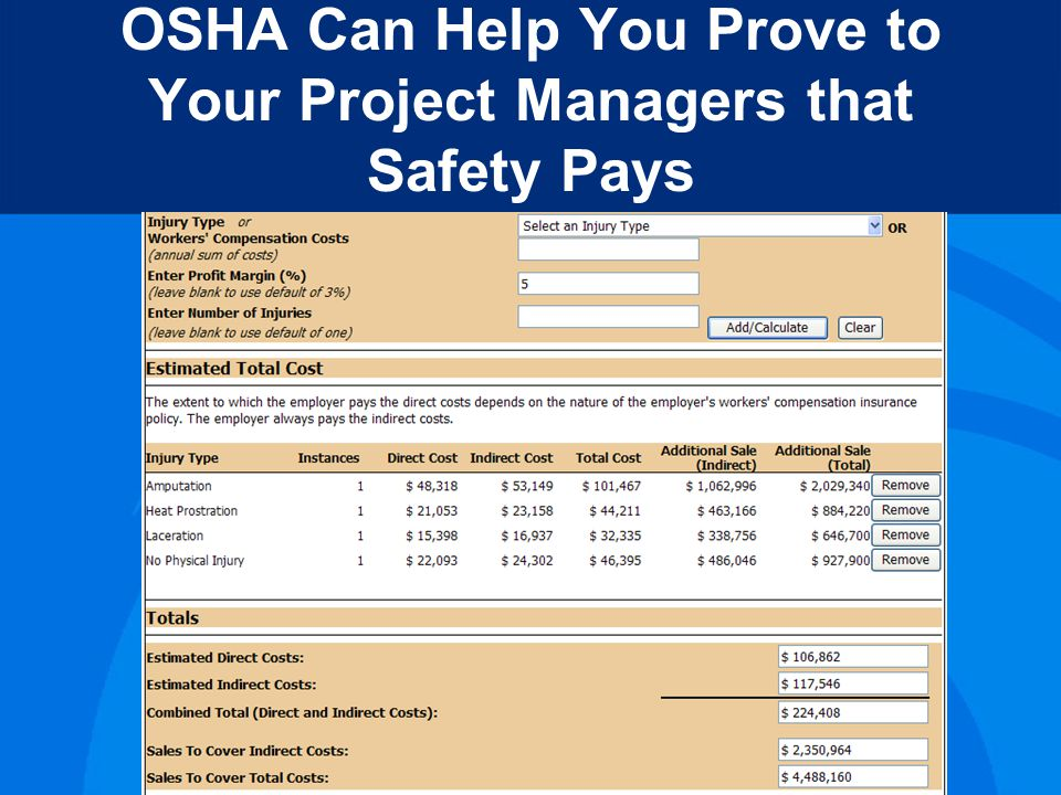 OSHA Can Help You Prove to Your Boss that Safety Pays Table saw guard - $435 Heat Injury Prevention Program and Training – 10 employees - $1500 Kevlar Glove - $42 10-hour OSHA Training – 10 employees -$3000 Total Cost - $4977