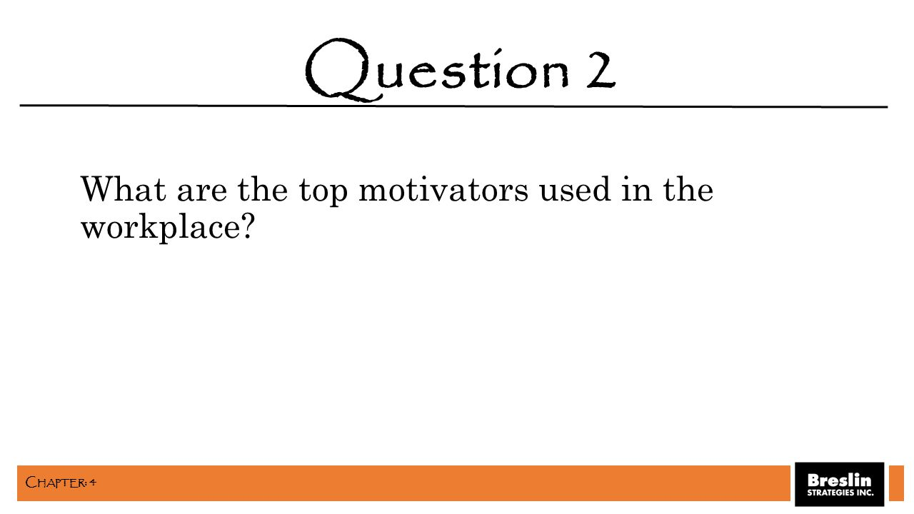 What are the top motivators used in the workplace? Question 2 C HAPTER : 4