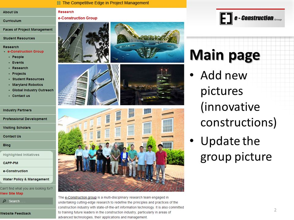 Main page Add new pictures (innovative constructions) Update the group picture 2
