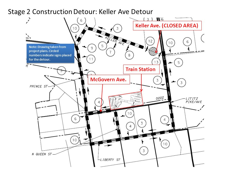Stage 2 Construction Detour: Keller Ave Detour McGovern Ave. Train Station Keller Ave. (CLOSED AREA) Note: Drawing taken from project plans. Circled n