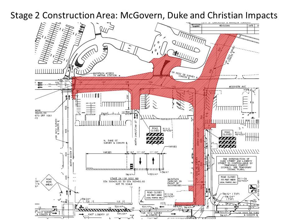 Stage 2 Construction Detour: 222 SB Detour via Liberty St McGovern Ave.