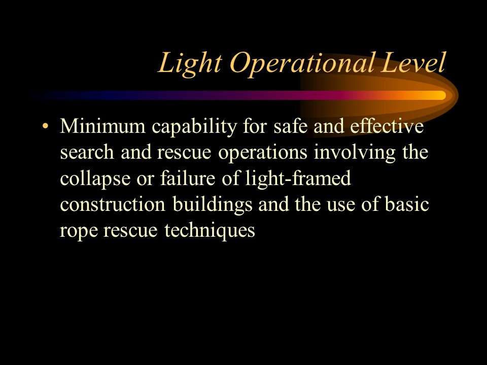 Light Operational Level Minimum capability for safe and effective search and rescue operations involving the collapse or failure of light-framed construction buildings and the use of basic rope rescue techniques