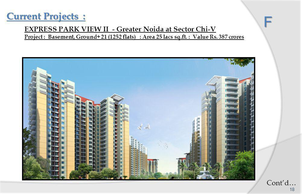 F Current Projects : F EXPRESS PARK VIEW II - Greater Noida at Sector Chi-V Project : Basement, Ground+ 21 (1252 flats) : Area 25 lacs sq.ft.