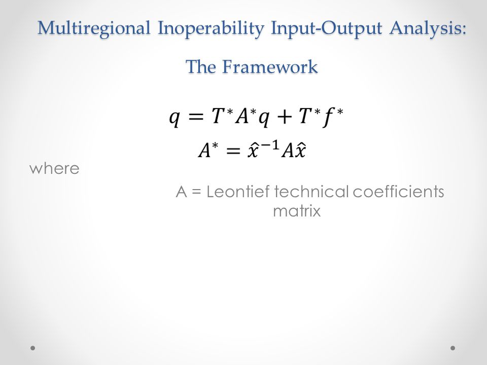 Multiregional Inoperability Input-Output Analysis: The Framework where A = Leontief technical coefficients matrix