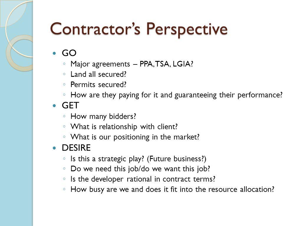 Contractors Perspective GO Major agreements – PPA, TSA, LGIA.