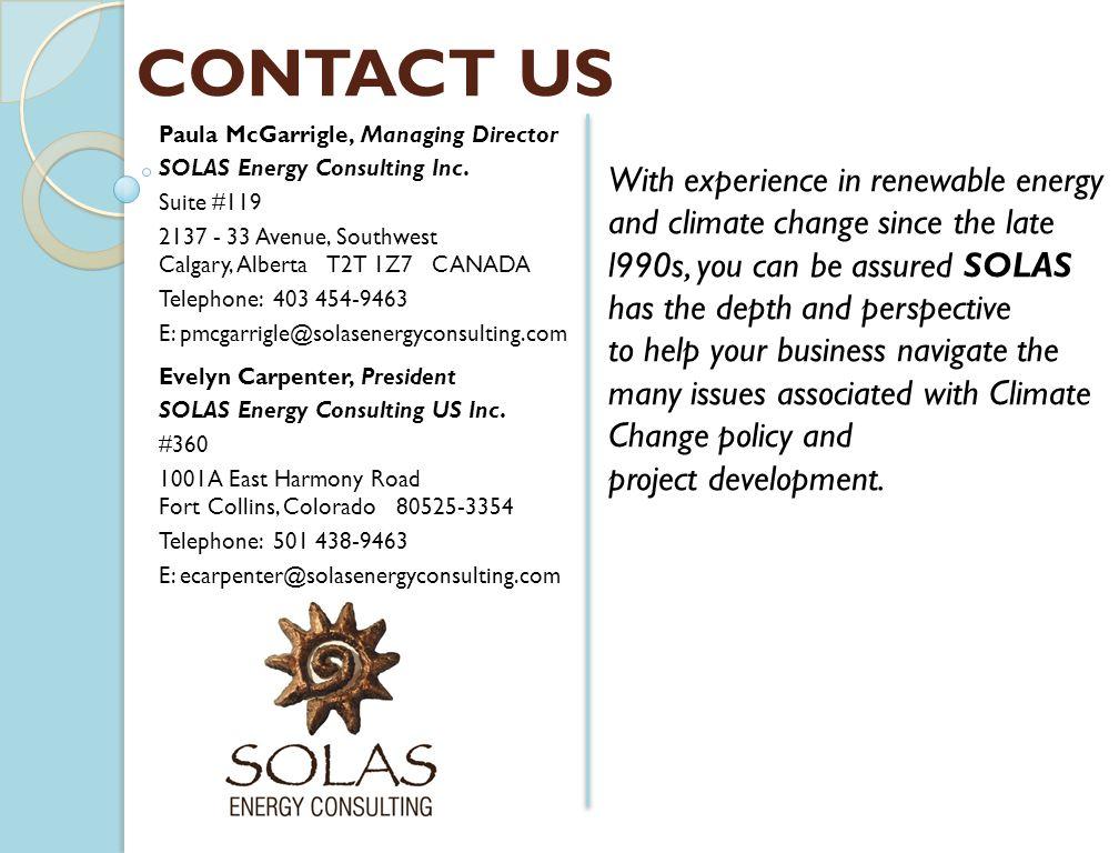 Paula McGarrigle, Managing Director SOLAS Energy Consulting Inc.