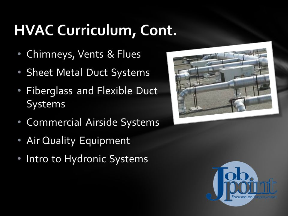 Chimneys, Vents & Flues Sheet Metal Duct Systems Fiberglass and Flexible Duct Systems Commercial Airside Systems Air Quality Equipment Intro to Hydronic Systems HVAC Curriculum, Cont.