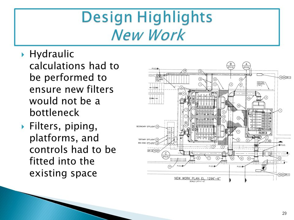 Hydraulic calculations had to be performed to ensure new filters would not be a bottleneck Filters, piping, platforms, and controls had to be fitted i