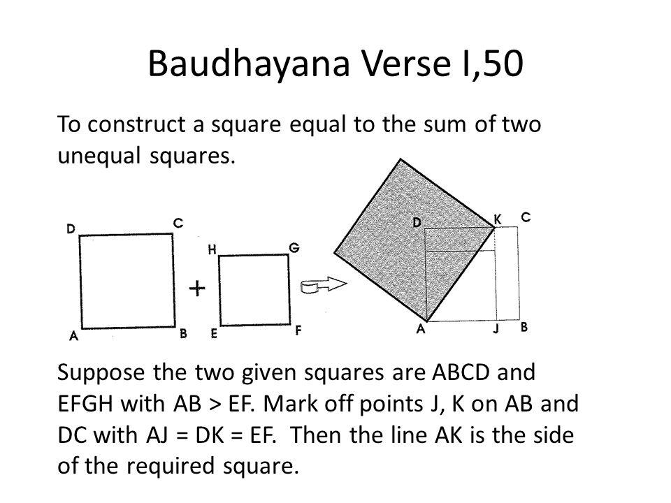 Baudhayana Verse I,50 Suppose the two given squares are ABCD and EFGH with AB > EF. Mark off points J, K on AB and DC with AJ = DK = EF. Then the line