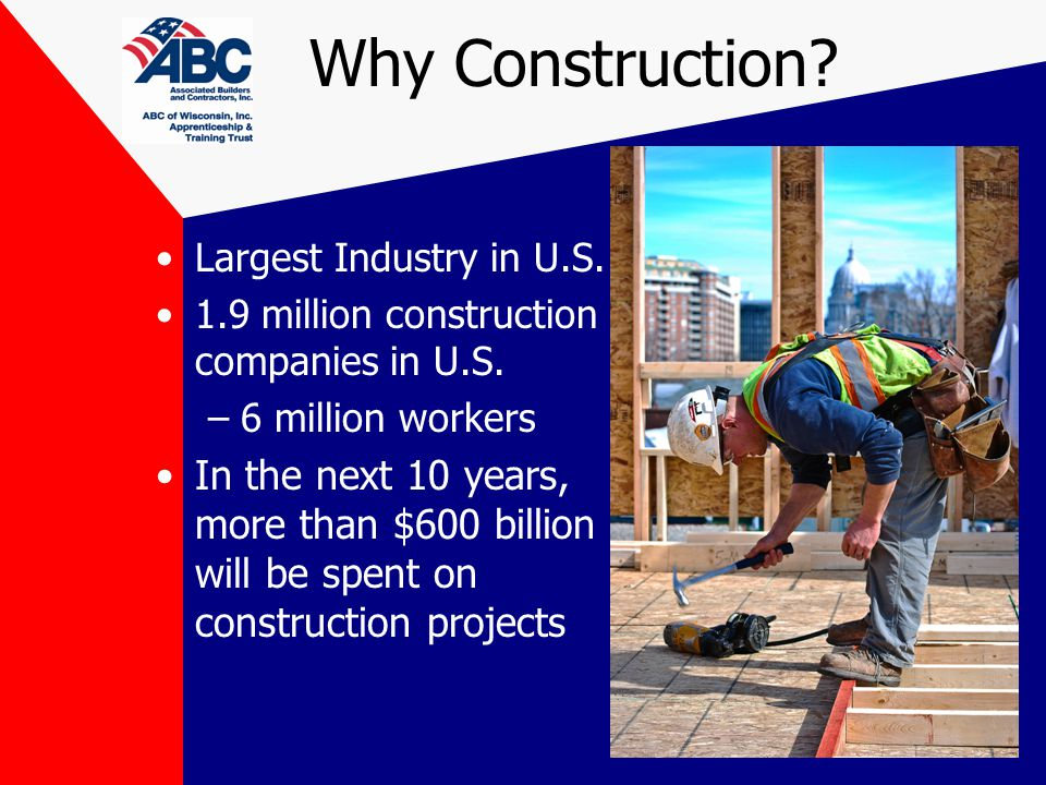 Why Construction. Largest Industry in U.S. 1.9 million construction companies in U.S.