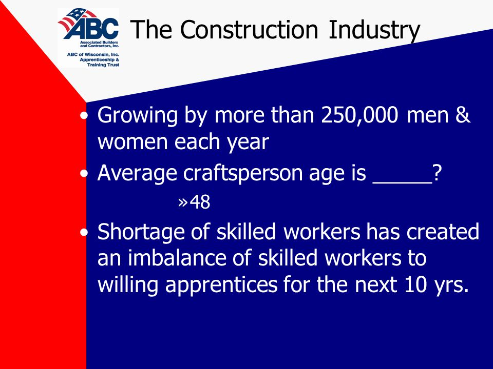 The Construction Industry Growing by more than 250,000 men & women each year Average craftsperson age is _____.