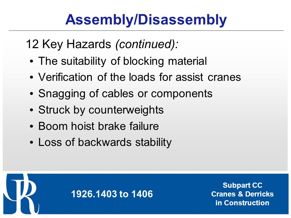 Subpart CC Cranes & Derricks in Construction 12 Key Hazards (continued): The suitability of blocking material Verification of the loads for assist cra