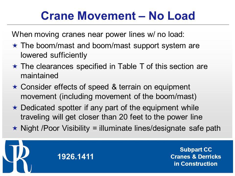 Subpart CC Cranes & Derricks in Construction Crane Movement – No Load 1926.1411 When moving cranes near power lines w/ no load: The boom/mast and boom