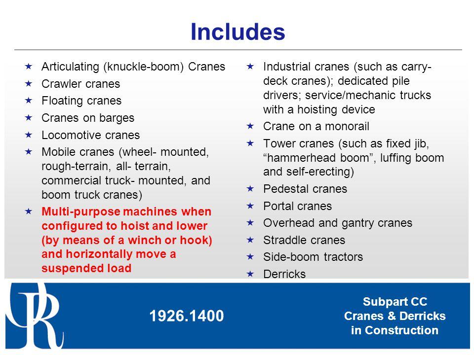 Subpart CC Cranes & Derricks in Construction Power shovels, excavators, wheel loaders, backhoes, loader backhoes, track loaders.