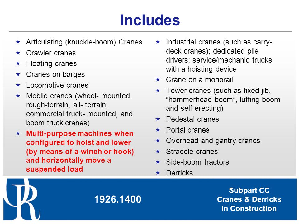 Subpart CC Cranes & Derricks in Construction Includes Articulating (knuckle-boom) Cranes Crawler cranes Floating cranes Cranes on barges Locomotive cr