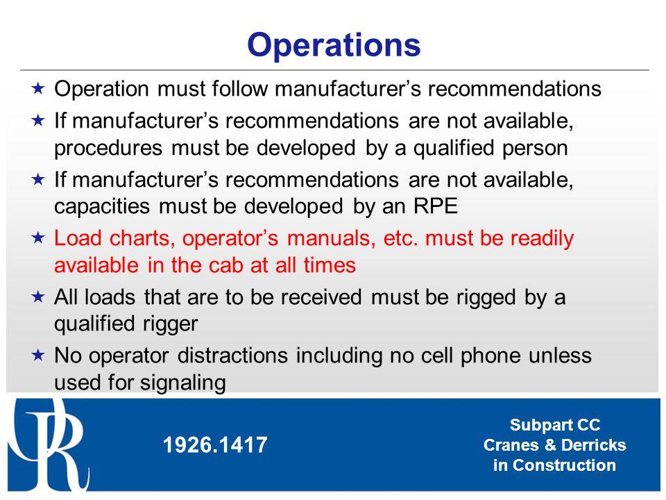 Subpart CC Cranes & Derricks in Construction Operations Operation must follow manufacturers recommendations If manufacturers recommendations are not a
