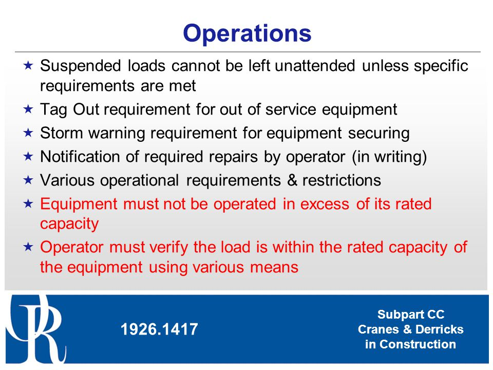 Subpart CC Cranes & Derricks in Construction Operations Suspended loads cannot be left unattended unless specific requirements are met Tag Out require
