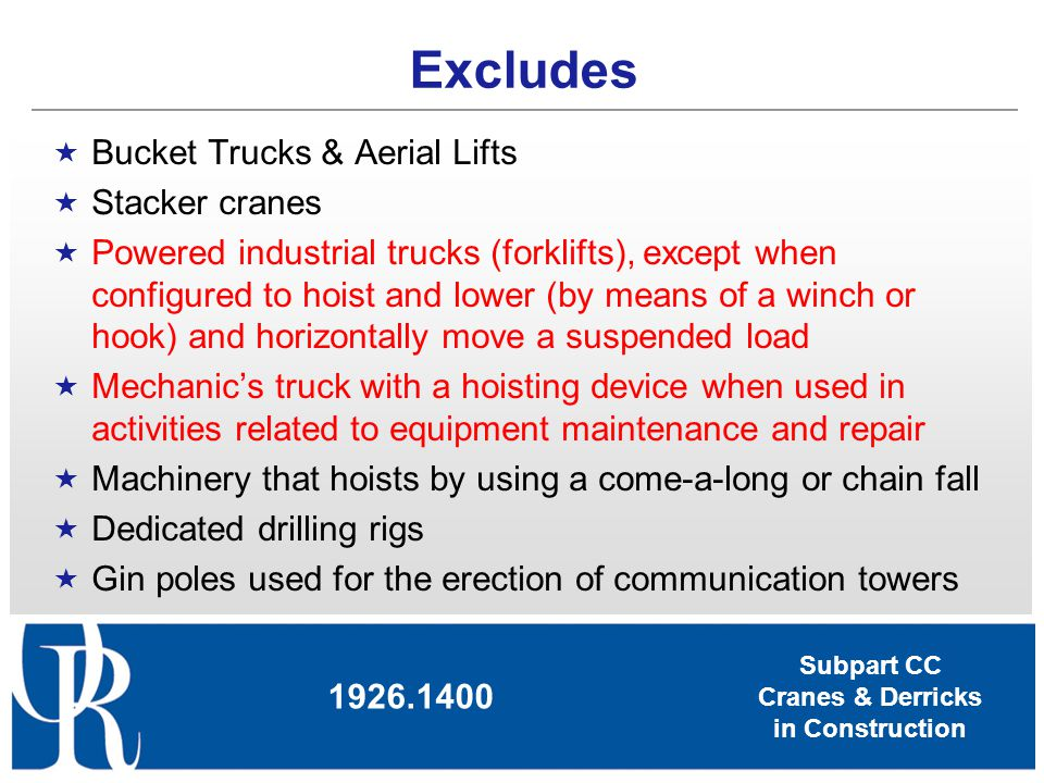 Subpart CC Cranes & Derricks in Construction Operations must not begin until all devices listed below are in proper working order Crane level indicator Boom stops, except for derricks and hydraulic booms Jib stops (if a jib is attached), except for derricks Equipment with foot pedal brakes must have locks Hydraulic outrigger & stabilizer jacks must have an integral holding device/check valve Equipment on rails must have rail clamps and rail stops, except for portal cranes Horn 1926.1415 Safety Devices