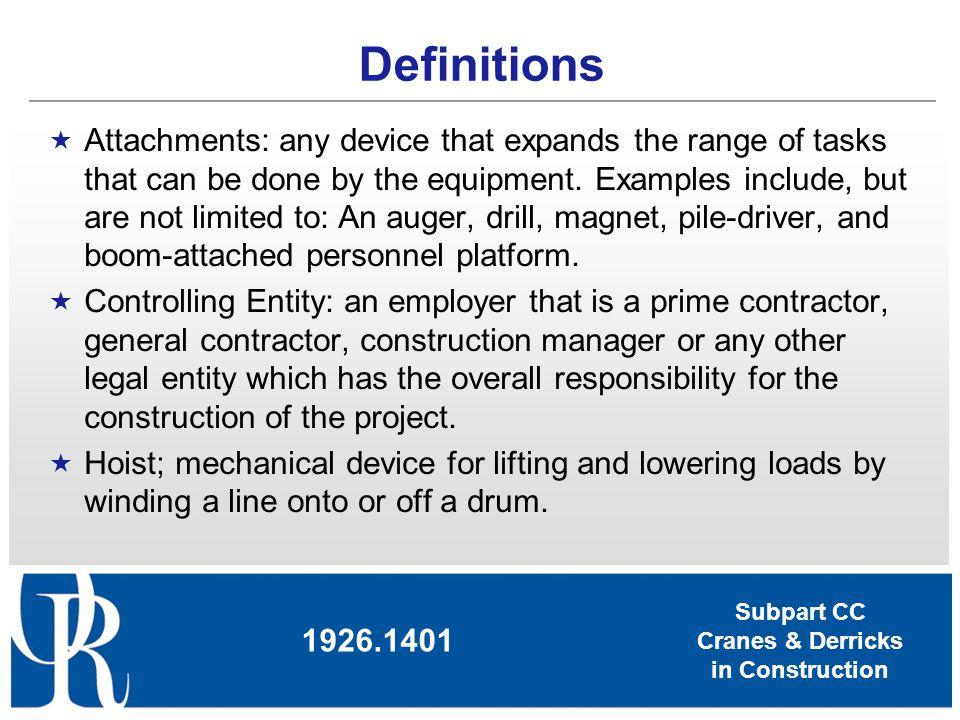 Subpart CC Cranes & Derricks in Construction Operator Qualification & Certification 1926.1427 Qual./Cert.