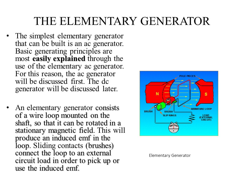 THE ELEMENTARY GENERATOR easily explained The simplest elementary generator that can be built is an ac generator. Basic generating principles are most