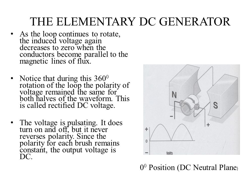 THE ELEMENTARY DC GENERATOR As the loop continues to rotate, the induced voltage again decreases to zero when the conductors become parallel to the ma