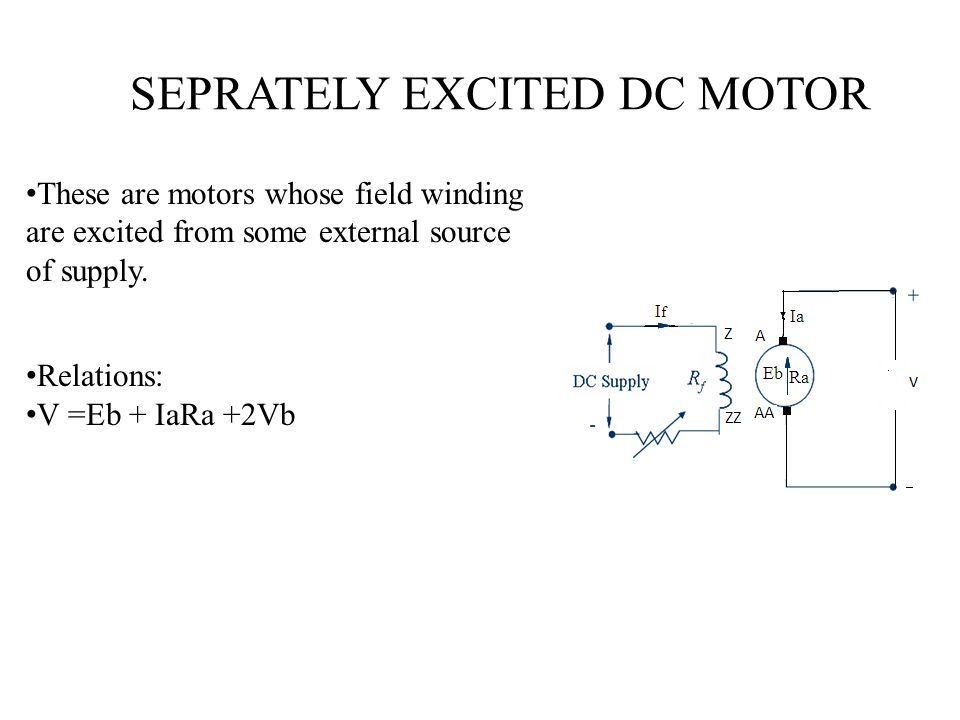 SEPRATELY EXCITED DC MOTOR These are motors whose field winding are excited from some external source of supply. Relations: V =Eb + IaRa +2Vb