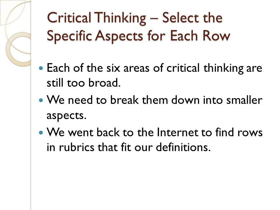 Critical Thinking – Select the Specific Aspects for Each Row Each of the six areas of critical thinking are still too broad. We need to break them dow