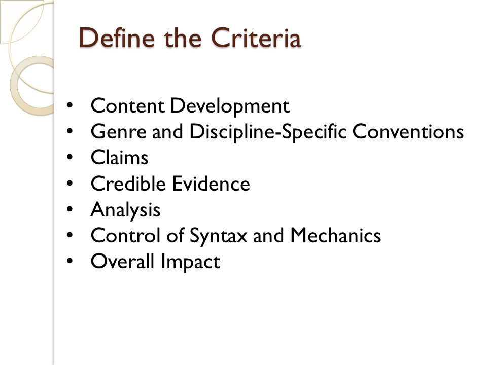 Define the Criteria Content Development Genre and Discipline-Specific Conventions Claims Credible Evidence Analysis Control of Syntax and Mechanics Ov