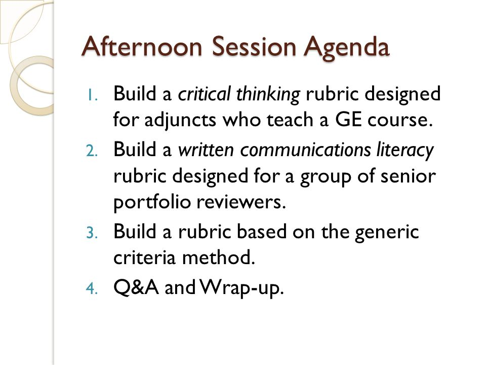 Afternoon Session Agenda 1.