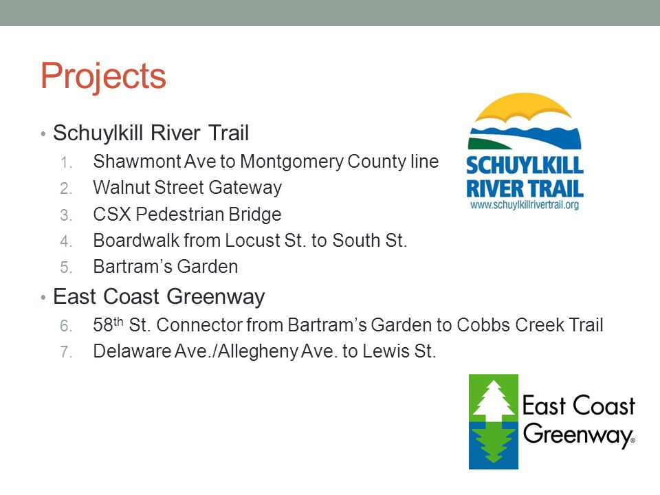 Projects Schuylkill River Trail 1. Shawmont Ave to Montgomery County line 2.