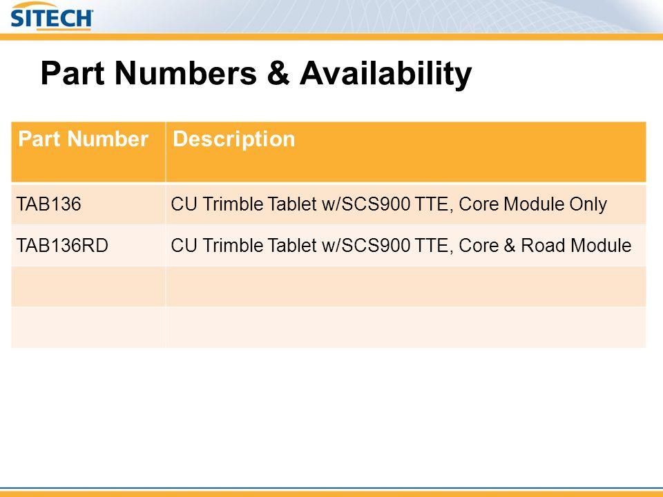 Part Numbers & Availability Part NumberDescription TAB136CU Trimble Tablet w/SCS900 TTE, Core Module Only TAB136RDCU Trimble Tablet w/SCS900 TTE, Core