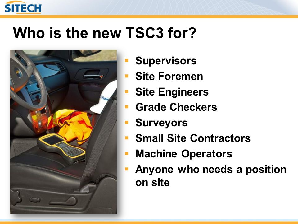 TSC3 v Leica CS15 v Topcon FC-2500 Fastest processor (Leica is same as TSC2) Most storage (8GB, 1GB, 2GB) Better camera than Leica (5MP vs 2MP) Better battery life than Leica (34 hrs vs 10hrs) Only controller with 3G as standard Largest Screen (45% more display area) Clearest Screen with higher resolution than Topcon Wifi, 3G and cable connectors are optional on Leica –They quote weight and size without these options