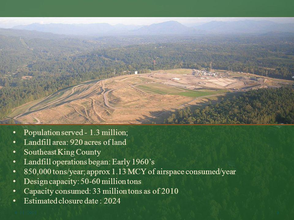 Population served - 1.3 million; Landfill area: 920 acres of land Southeast King County Landfill operations began: Early 1960s 850,000 tons/year; appr