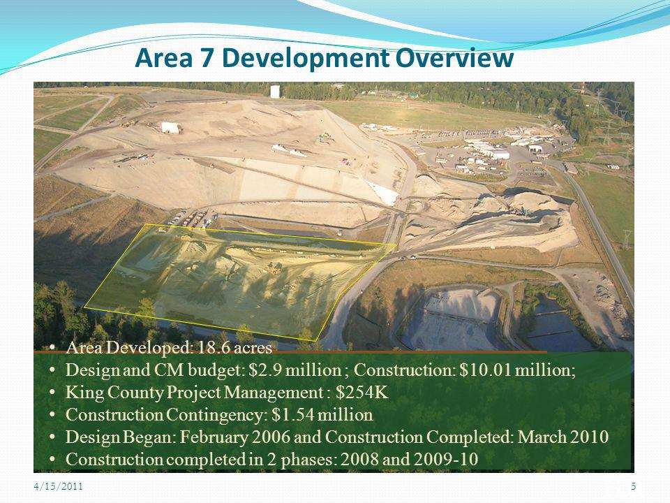 Area 7 Development Overview Area Developed: 18.6 acres Design and CM budget: $2.9 million ; Construction: $10.01 million; King County Project Manageme